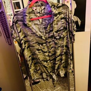 BOGO Sale- Camo print detailed short sleeve top